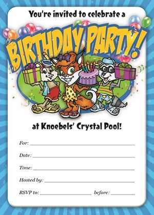 Knoebels Downloadable Crystal Pool Birthday Invitation