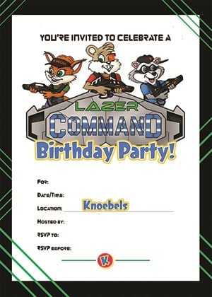 Knoebels Lazer Command Party Invitation